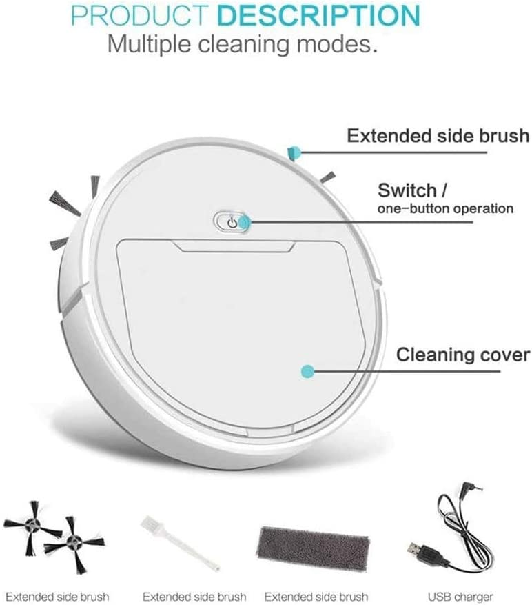 SMX Aspirateur Robot, Automatique 3-in-1 Smart Aspirateur Robots Sweeper Vadrouille Multifonctions Recharge Sec Balayage Humide USB Rechargeable (Color : White) White