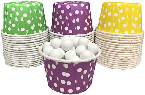 Mardi Gras Themed Candy Nut Mini Baking Paper Treat Cups - Purple Green Yellow - Polka Dot - 48 (Mardi Gras Treats)