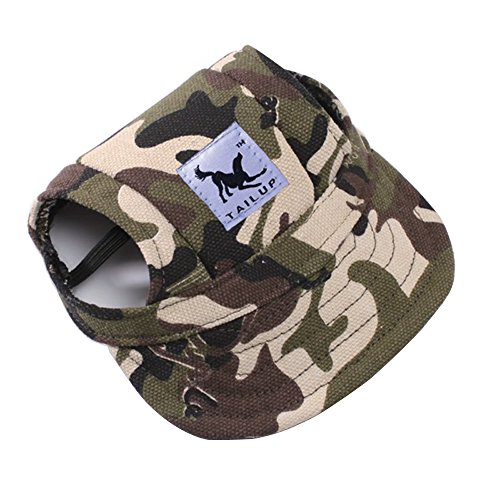 Pet Dog Hats for Small Size Dogs Cideros Visor Design Fashion Dogs Baseball Sun Hats Sport Cap with Ear Holes and Chin Strap - Size M (Camouflage Color)