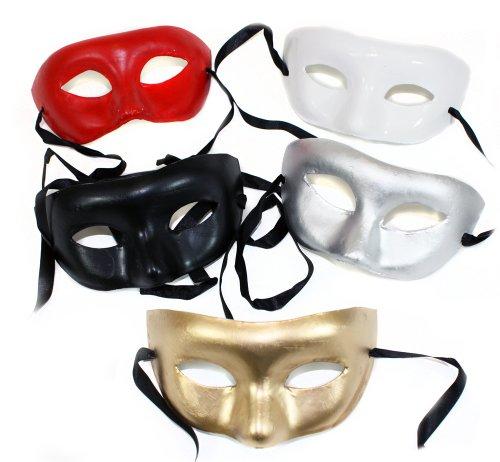 Paper Mache Plain Masquerade Mask Assortment-5 Masks - Paper Mache Venetian Mask