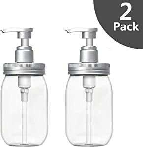 Luvan Soap Dispenser,Made of BPA Free Plastic, Refillable Clear Plastic Bottles for Essential Oils,Lotions,Liquid Soap etc (Set of 2)