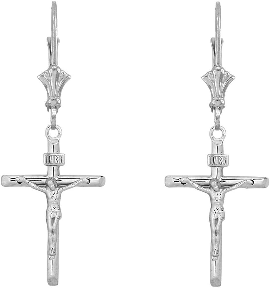 Earrings INRI Dainty Sterling Silver Jesus Christ Crucifix Cross