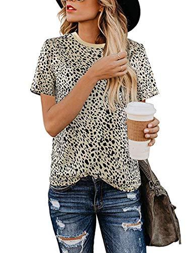 MIROL Womens Casual Leopard Printed Short Sleeve Tops Cute T Shirts Tees Basic Soft Blouse