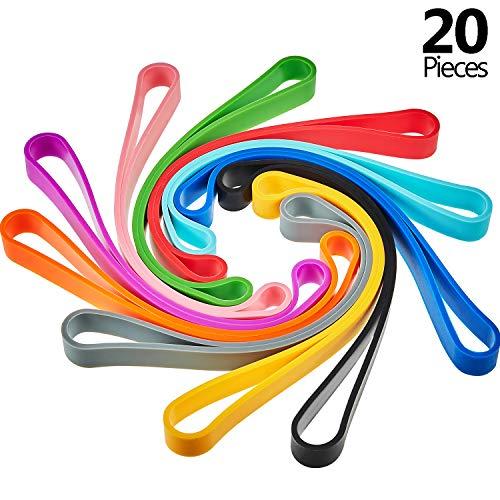 Bandas de Goma Silicona de Colores Variados Bandas Elasticas de Envolver para Cuaderno Embalaje de Equipo al Aire Libre (20 Piezas)