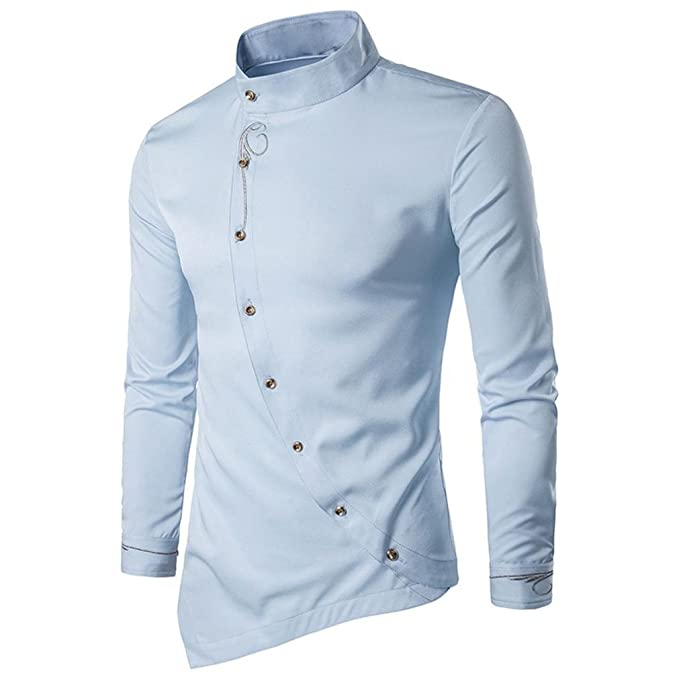 Sunhusing Men Casual Slanting Irregular Stand Collar Embroidered Button Long Sleeve Shirt at Amazon Mens Clothing store: