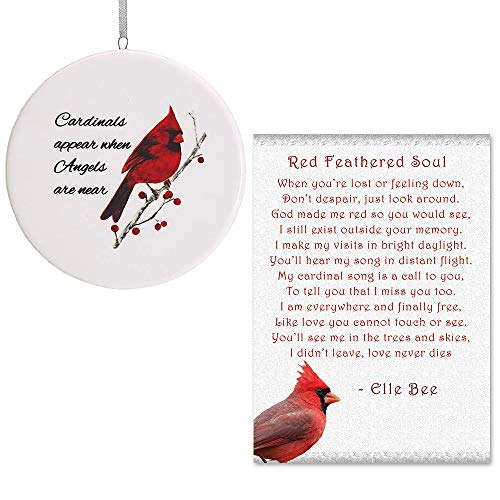 Lola Bella Gifts and Burton and Burton Cardinals Appear When Angels are Near Ornament with Red Feathered Soul Poem (Missing A Loved One In Heaven Poems)
