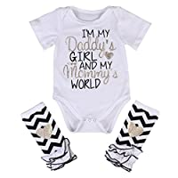 3 Styles Newborn Baby Girl I'm Daddy Girl Letter Print Bodysuit+Leg Warmer Ou...