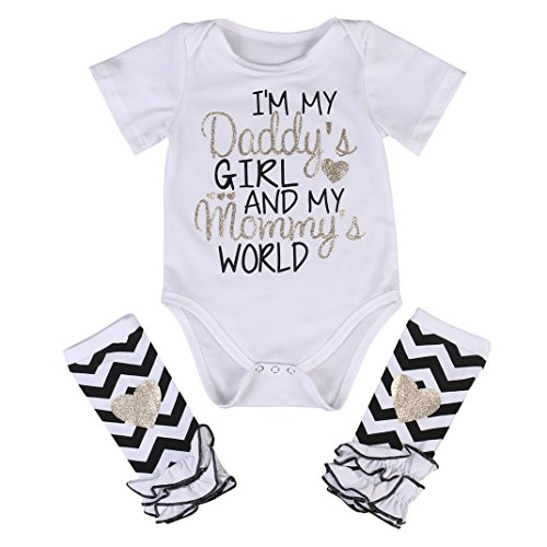 3 Styles Newborn Baby Girl I'm Daddy Girl Letter Print Bodysuit+Leg Warmer Outfits Set, White+black, 80  (0-3M)