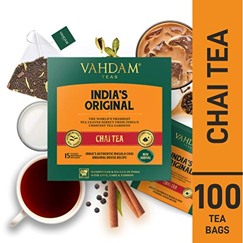VAHDAM, Original Masala Chai, 100 Count | 100% NATURAL SPICES & NO ADDED FLAVOURING | Cinnamon Tea | Cardamom Tea | Masala Chai Tea Bags 100 Count | Brews Chai Tea Latte | Blended & Packed in India