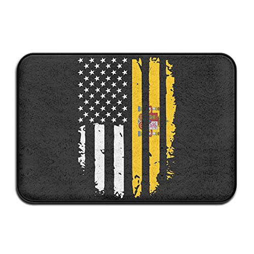 Inside & Outside Absorbs Mud Doormat Spain America Flag Design Pattern Hallways Foyers by Fuucc-6