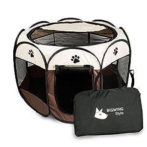 BIGWING Style Parque Mascota de Juego Entrenamiento Dormitorio Perro Gato Conejo Octágono Plegable Lavable Durable 73x…