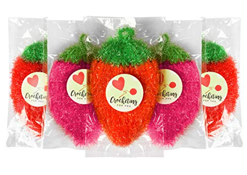 - Set of 5, Strawberry Crochet Dish Washing Scrubber: No Odor, Hygienic/Bubbles up Quickly/Good Scrub/Flexible, Light/EZ to Wash and Dry - A Handmade Touch to Your Kitchen!