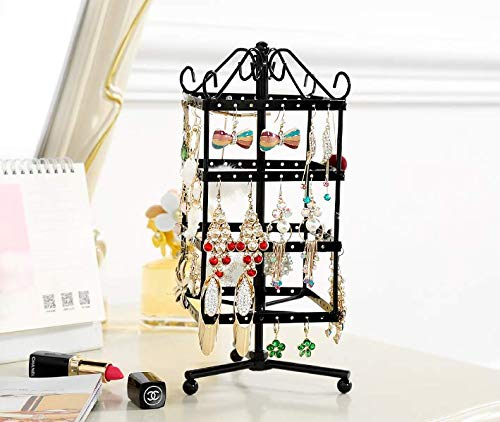 Jewelry Display Earring Holder (4 Tiers Rotating 64 Pairs Earring Holder-Necklace Organizer Stand-Jewelry Stand Display Rack Towers)