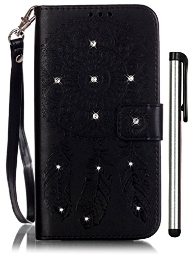 (Samsung Galaxy S5 Flip Case Black Leather Wallet Full Body Magnet Book Cover Cell Phone Accessories with Bling Crystal Stand 3 Credit Card Holder 1 Cash Slot WristStrap Handmade Embossed Wind Chimes)