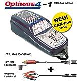Chargeur de batterie Tecmate OptiMate 4Can-Bus Batterie d'entretien pour BMW, approfondie 12V, avec fiches SAE.