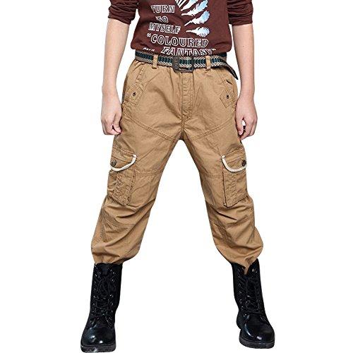 6 Pocket Cargo Pant (Boys' Cotton Washed Lightweight 6 Pockets Cargo Pants Khaki Tag 130 - US 6-7Y)