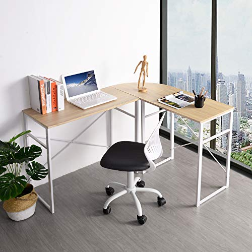 GreenForest L Shaped Corner Desk Wood & Metal PC Laptop Study Workstation Space Saving 3 Pieces, Oak ()