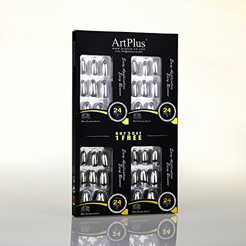 Artplus 24Pcs X 4  4 Pack  Silver Metallic Chrome False Nails With Glue Full Cover Stilleto 4 Boxes In 1 Premium Pack Buy 3 Get 1 Free Fake Nails Art