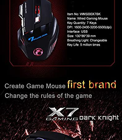 JosLove Professional Wired Gaming Mouse 7 Button 5500 DPI LED Optical USB Gamer Computer Mouse Mice Cable X7