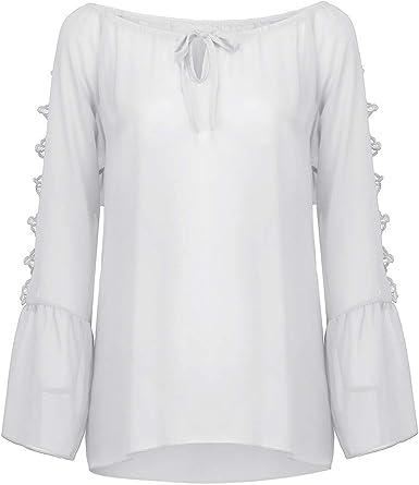 Blusa con Hombros Descubiertos, Camisa para Mujer con Cuello ...