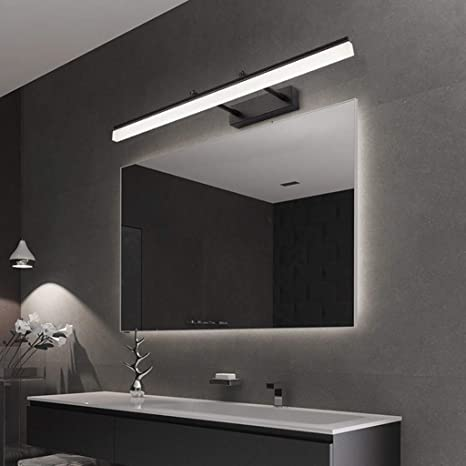 Adjustable Led Bathroom Vanity Lighting Fixtures Long Shade Matte Black Stainless Steel Bath Mirror Lamps Wall Lights Make Up Wall Light Wall Sconce Color Cool Light 6000k Size 40cm Amazon Ca Home