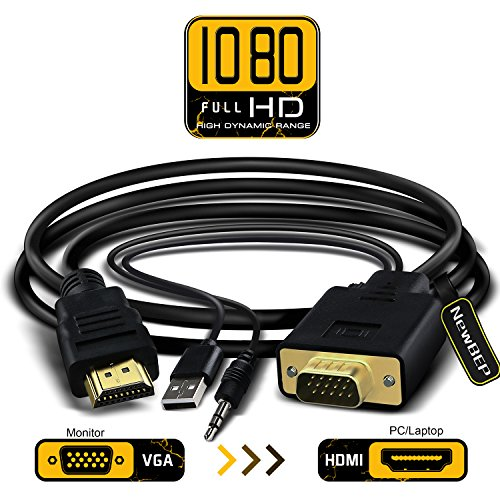 VGA to HDMI Adapter Cable, NewBEP 6Ft/1.8m VGA to HDMI 1080P HD Audio TV AV HDTV Video Converter Cord with 3.5mm Audio Cable & USB Power Cable for PC Computer Desktop Laptop Projector
