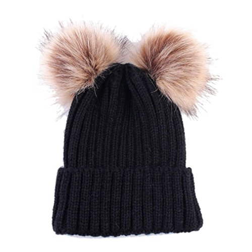 DongDong ♫2018 Cute Hat, Baby Keep Warm Winter Solid Hairball Knitted Hemming Hat