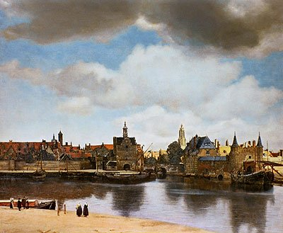 Vermeer, van Delft (View of Delft, c.1660/61) Canvas Art Print Reproduction (16.8x20.1 in) (43x51 cm)
