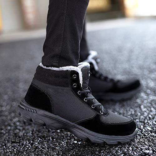 Stringate da Sneaker All'aperto Invernali Scarpe Caviglia Stivaletti Neve Antiscivolo Caldo Stivali Blu Uomo Nero Piatto Nero BIGU Pelliccia Boots Marrone ZqxAwc