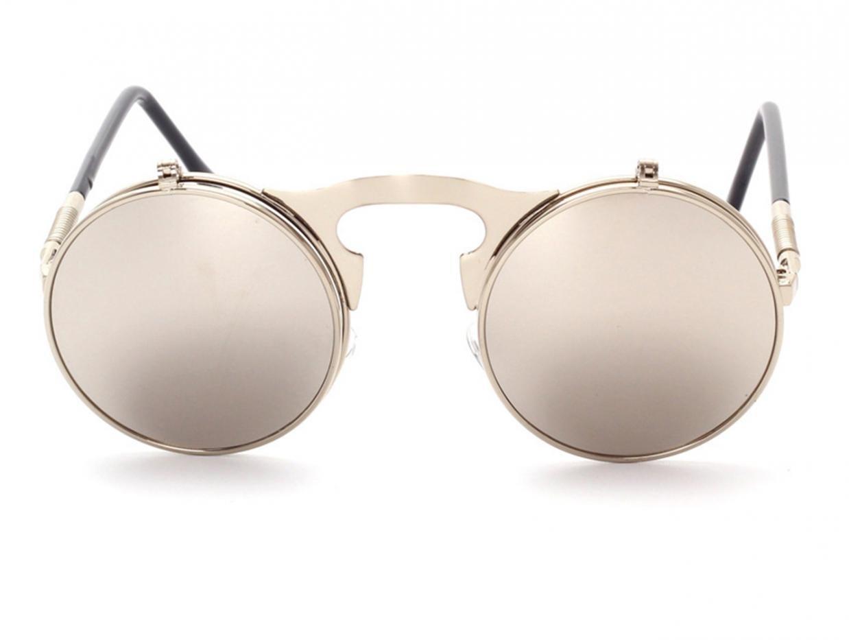 WODISON Lunettes de soleil style Steampunk Flip up Lentille ronde pour hommes Femmes avec pochette (Cadre noir Black Lens) vzls67d2