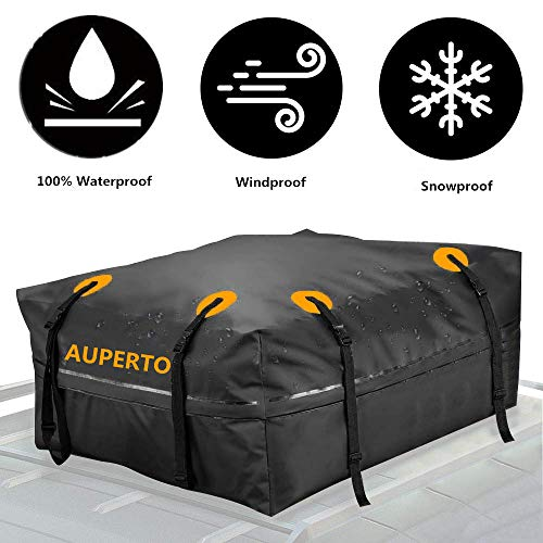 Carrier Waterproof Rooftop (AUPERTO Cargo Bag, Waterproof Roof Storage Bag Compatible Truck ATV Canvas Jeep(15 Cubic Feet))