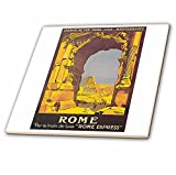 3dRose Vintage Rome PAR Le Trail De Luxe Rome Express Train Travel Poster - Ceramic Tile, 8-Inch (ct_126003_3)