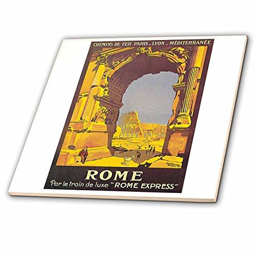 3dRose Vintage Rome PAR Le Trail De Luxe Rome Express Train Travel Poster - Ceramic Tile, 8-Inch (ct_126003_3) by 3dRose