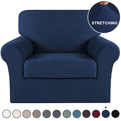Turquoize Stretch Sofa Slipcover Sofa Cover Stylish Navy Stretch Chair Slipcover Furniture Protector Anti-Slip with Elastic Bottom, Polyester Spandex Jacquard Fabric Small Checks(Navy, Chair)