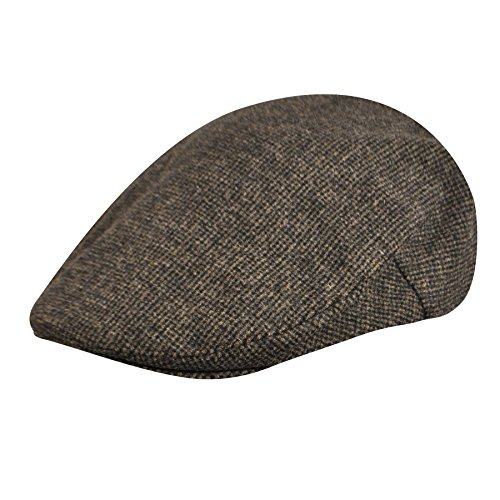 Country Gentleman Men's British Classic Patterned Flat Ivy Cap, Brown Mini Check, XL