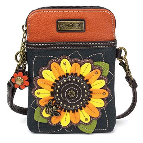 Chala Crossbody Cell Phone Purse - Women PU Leather Multicolor Handbag with Adjustable Strap - Sunflower Navy]()