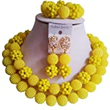 Nigerian Wedding African Beads Opaque Yellow Bridal Jewelry Sets