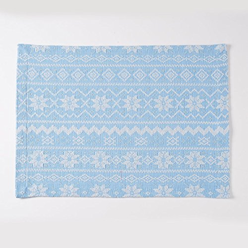 St Nicholas Square Woven Blue Fair Aisle Snowflake Placemats Set of 4