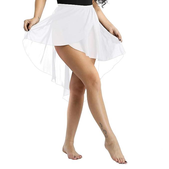 dPois Falda Asimétrica de Gasa para Mujeres Falda de Danza Ballet ...