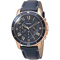 Fossil Mens FS5237 Grant Sport Chronograph Blue Leather Watch