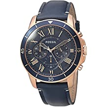 Fossil Men's Grant Sport Quartz Stainless Steel and Leather Chronograph Watch, Color: Rose Gold-Tone, Blue (Model: FS5237)