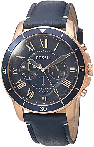 Fossil Men's Grant Sport Quartz Stainless Steel and leather Dress Watch Color: Rose gold, Navy (Model: FS5237) (Men Rose Fossil Watch Gold)