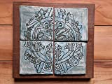 Aztec War Mask Ceramic Plaque Turquoise Tile Wall Art Mesoamerican Pottery Ancient Clay Mask Hand Carved