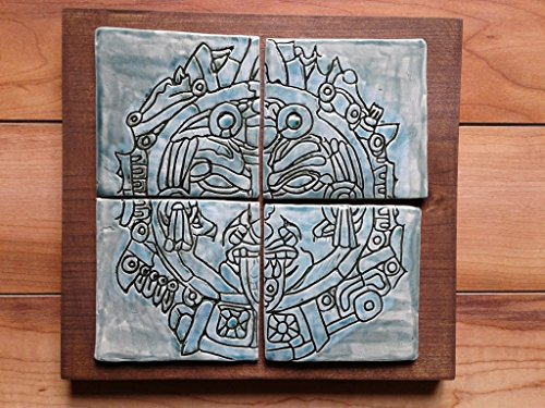 Aztec War Mask Ceramic Plaque Turquoise Tile Wall Art Mesoamerican Pottery Ancient Clay Mask Hand (Pottery Mask)