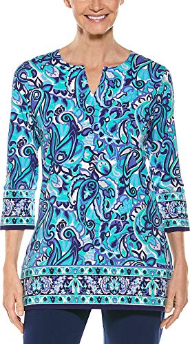 Coolibar UPF 50+ Women's St. Lucia Tunic Top - Sun Protective (Large- Blue Vintage Paisley)