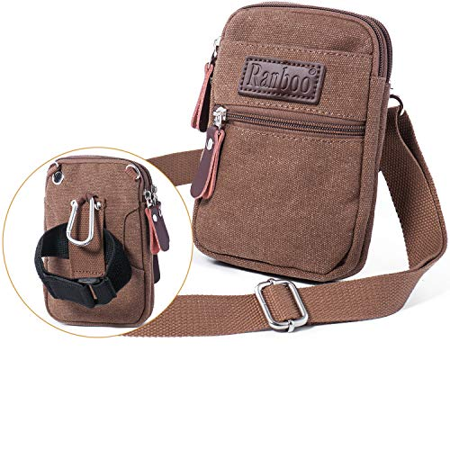 Ranboo Cellphone Purse Crossbody Shoulder Bag Belt Loop Phone Pouch Compatible iPhone Xs Max XS 8 7 Plus Belt Clip Case Waist Pack Bag Men Wallet Armband Sports Bag Note 8/5 S8/9 Plus LG G6 G7 Khaki ()