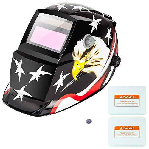 Z ZTDM Welding Helmet Solar Auto Darkening,Adjustable Shade Range DIN 9-13/Rest DIN 4,Welder Protective Gear ARC MIG TIG,2pcs Extra Lens+CR2032 Battery,ANSI Z87.1CE EN379 Approved (American Eagle)