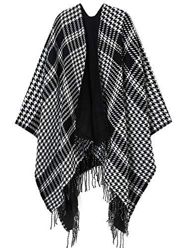 (Womens Reversible Open Front Poncho Ruana Cardigan Coat Pashmina Houndtooth Grid Stripe Poncho Sweater Cardigan Black White)