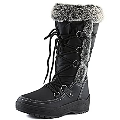 Women's DailyShoes Woman's Knee High Lace Up Warm Fur Water Resistant Eskimo Snow Boots, 5