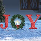 Glittered Red Christmas Stake Lighted Christmas Outdoor Yard Decoration Joy or Peace (Joy)